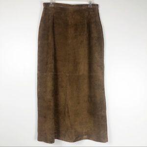 Brandon Thomas Brown Leather Maxi Skirt